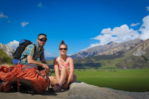 My husband and I at Castle Hill, New Zealand