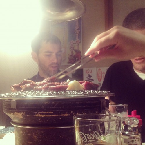 Nate enjoying his yakiniku meal.