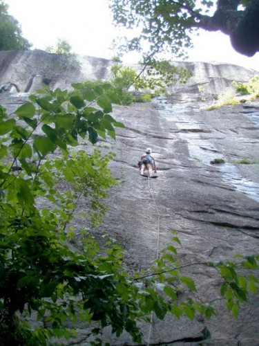 Me leading a climb on Cathedral