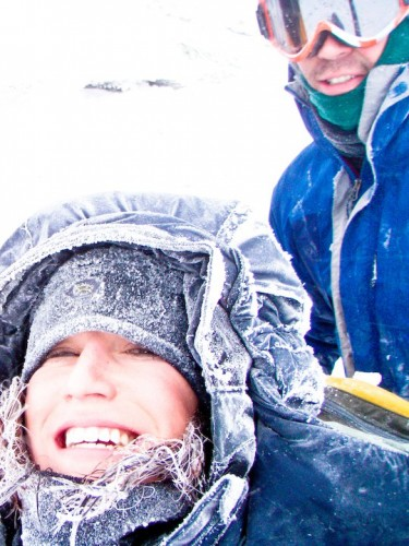 Mike and I frozen on Mt. Lafayette