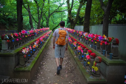 Mike walking through a 'lost children' memorial in Tokyo